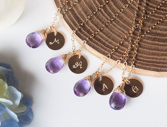 Свадьба - Set of 4:  Amethyst Necklace. Initial Charm Gold Necklace, Purple stone jewelry, Bridal Jewelry, Bridesmaid Gift set, Weddings