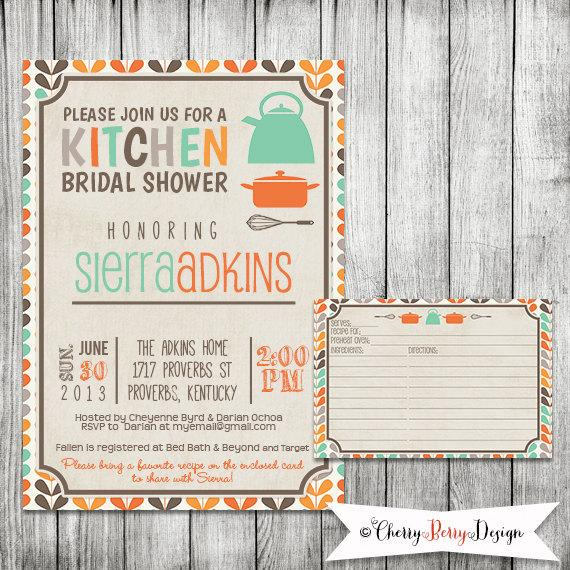 Mariage - Kitchen Bridal Shower Invitation - Printable file 5 x 7 and Matching Recipe Card