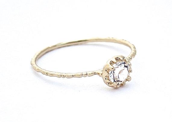 Свадьба - Cubic Zirconia Ring 14k Gold Plated Ring Band, Wedding Ring
