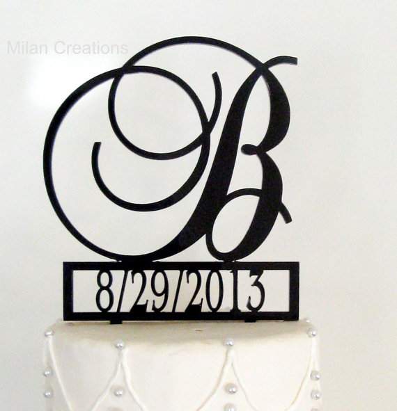 زفاف - Monogram Wedding Cake Topper with Event Date and Letter