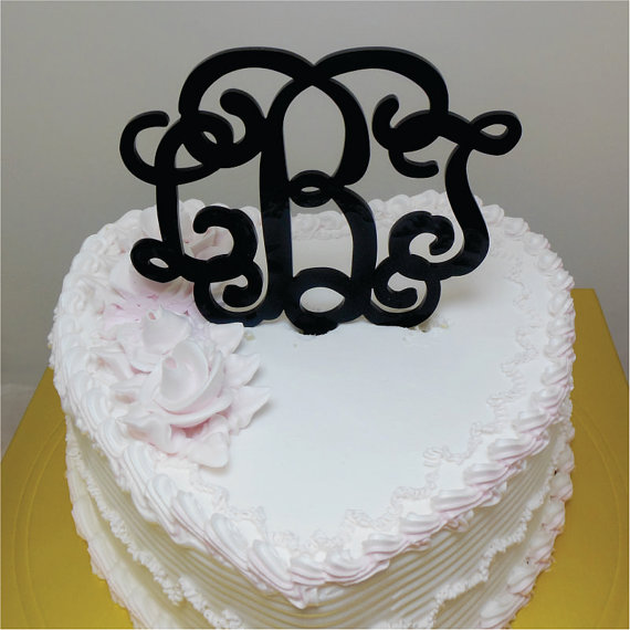 "زفاف - Wedding Cake Topper - 5"" Wedding Vine Monogram Cake Topper  (Beautiful Laser Cut Acrylic )"