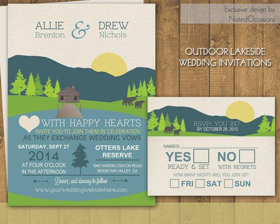 mountain wedding invitation mountain wedding and lake wedding - Camping Wedding Invitations