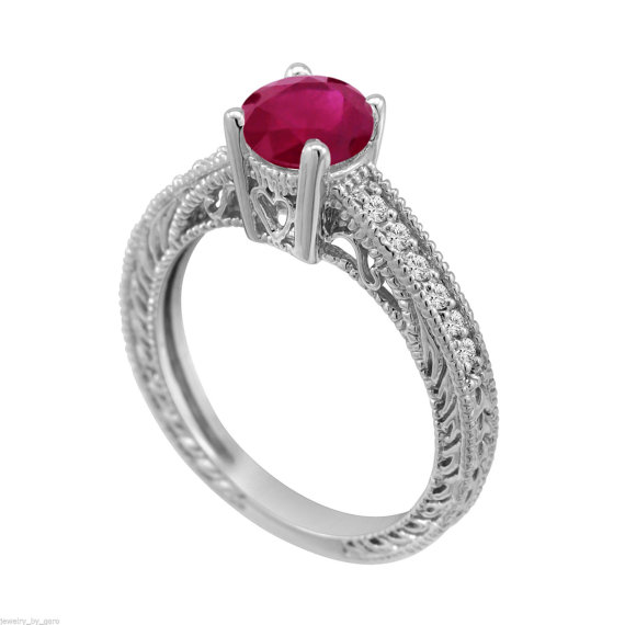 Mariage - Certified 0.74 Carat Ruby & Diamonds Engagement Ring Vintage Style 14k White Gold HandMade