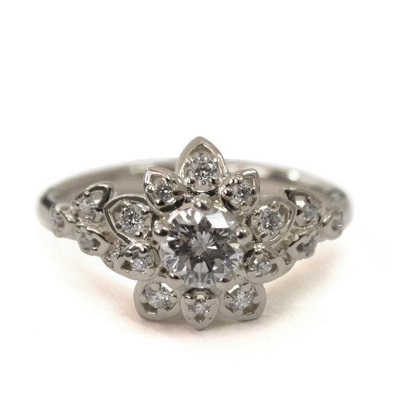 Hochzeit - Diamond Art Deco Petal Engagement Ring - 18K White Gold and Diamond engagement ring, leaf ring, flower ring, antique, vintage, halo ring