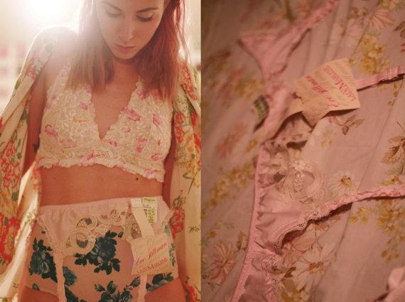 زفاف - Vintage NWT NOS medium / large deadstock Eve Stillman - Lady Marlene pastel light pink garter belt / lace /