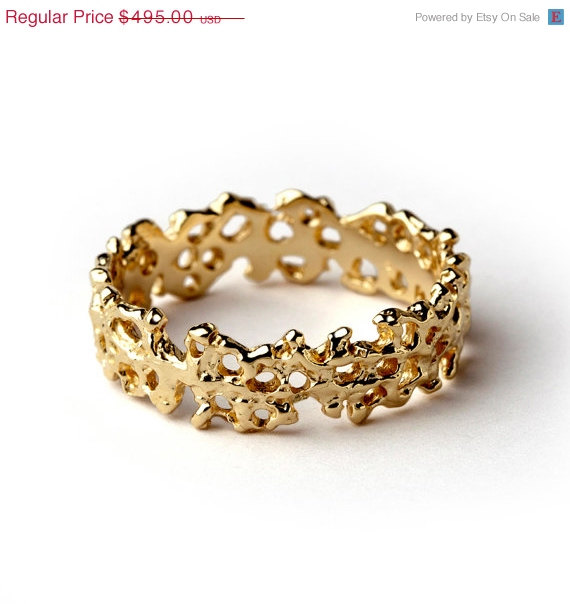 On SALE CORAL Unique Wedding Band Ring 14k Yellow Gold Wedding