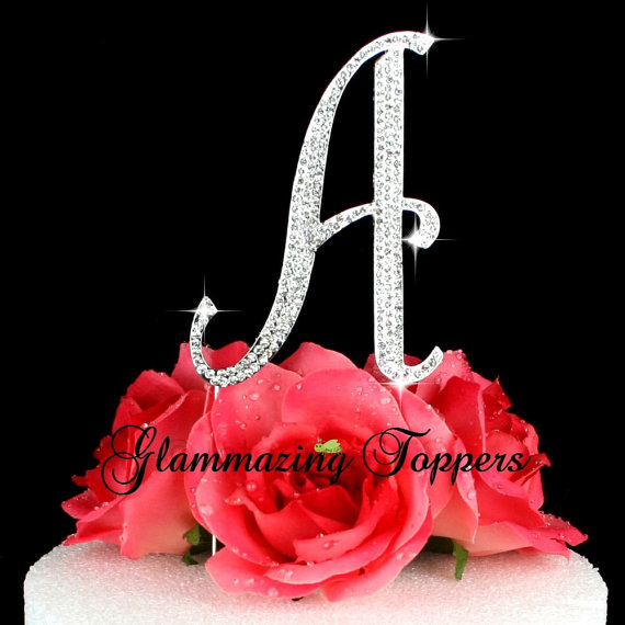 زفاف - Large initial Letter A script font wedding cake topper rhinestone bling crystal cake Birthday engagement cake Topper