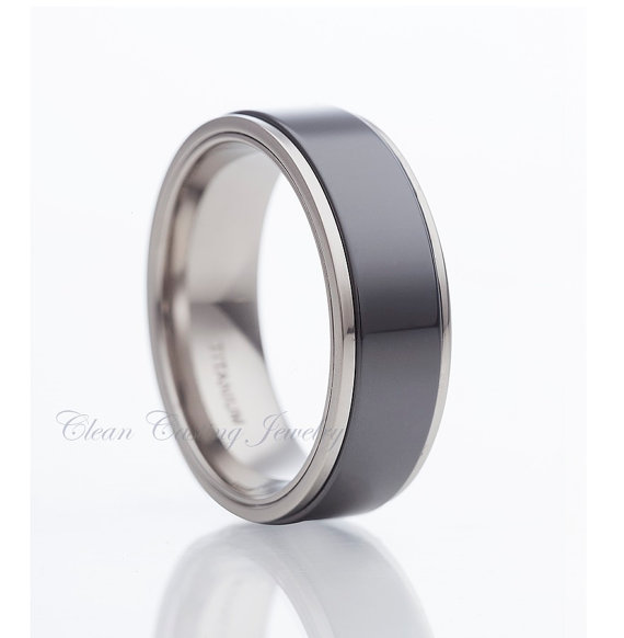 Mariage - Titanium Wedding Band,Titanium Wedding Ring,Black Titanium,Ceramic Wedding Ring,Anniversary Ring,Engagement Band,Comfort Fit,His,Hers,Set