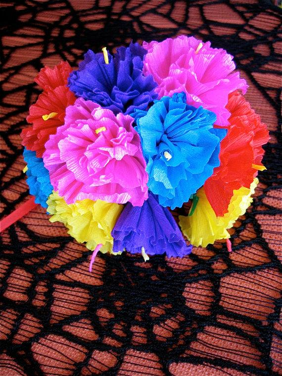 Colorful paper carnation flower bouquet perfect for a gift or to colorful paper carnation flower bouquet perfect for a gift or to add to your day of the dead altar 10 buds mightylinksfo