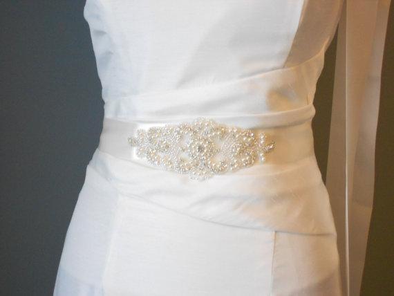 Bridal sash beaded sash wedding dress sash rhinestone for Pearl belt for wedding dress