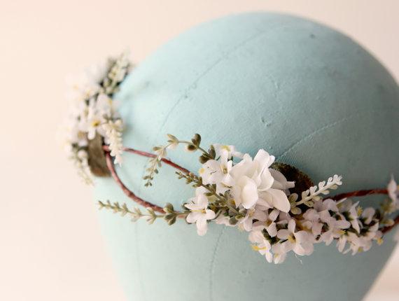 Nozze - Woodland hair crown, Rustic flower crown, boho wedding head piece, Bridal wreath - SONATA