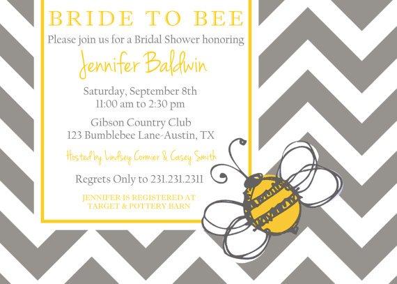 زفاف - Bride to Bee Printable Party Invitation, Personalized Bride to Bee Bridal Shower Invite