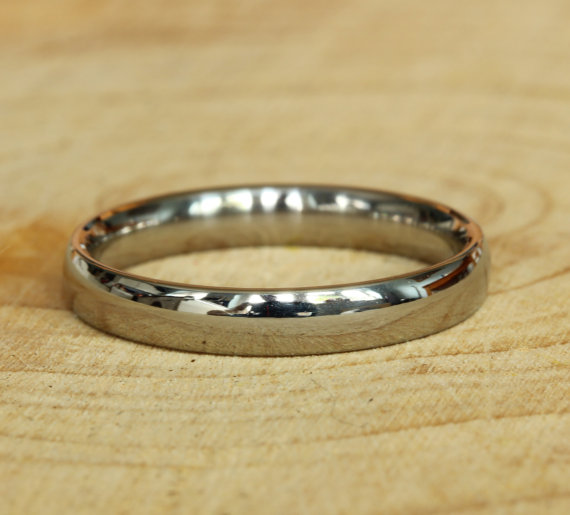 Wedding - 3mm Wide Comfort Fit / Court Shape Titanium Plain band Wedding Ring in either polished or matte finish