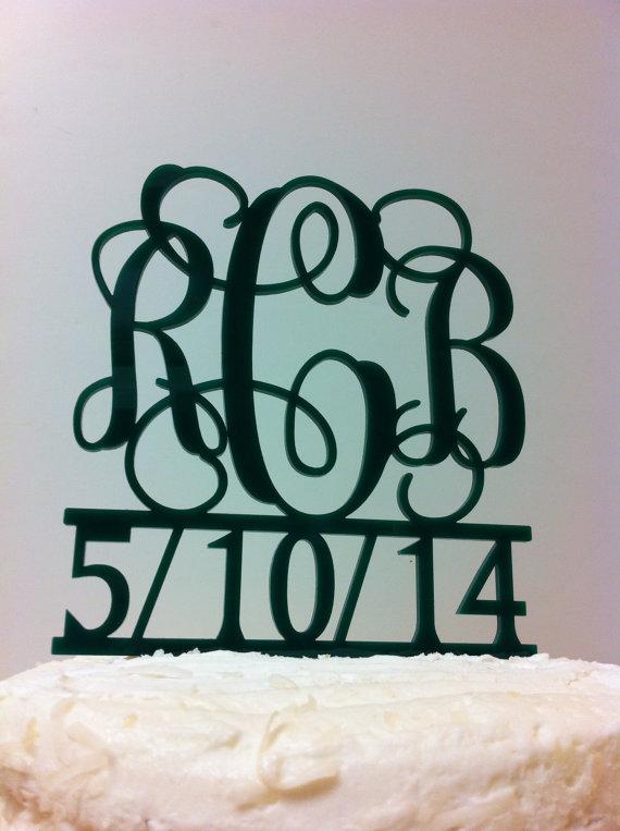 زفاف - 3 letter Monogram Wedding Cake Topper with Date