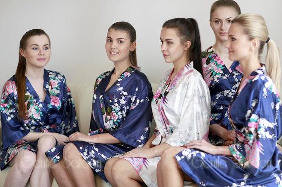 Wedding - Bridesmaid Robes, Set of 5 Bridesmaid Satin Robes, Kimono Robe, Fast Shipping from New York, Regular and Plus Size Robe