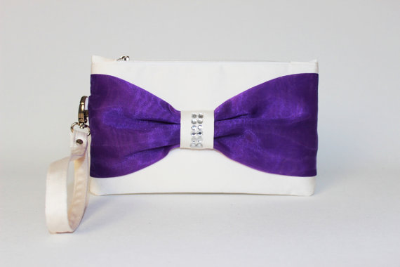 Wedding - PROMOTIONAL SALE - Purple ,ivory, Bow wristelt clutch,bridesmaid gift ,wedding gift ,make up bag,zipper pouch,cosmetic bag,zipper pouch