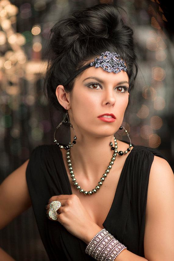 Fler Headband Downton Abby Gatsby 1920s Headpiece 20s Headdress Hair Accessory Gunmetal Art Deco Piece