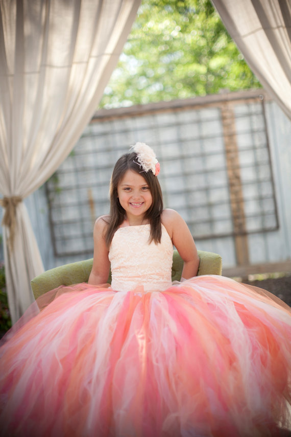 Mariage - Lace and satin Gorgeous Creamsicle Pixie tutu dress with lace overlay bodice....Flower Girl Dress..Vintage Photography Prop