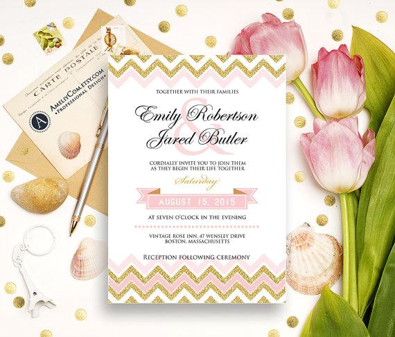 gold weddings invitation printable glam golden glitter chevron or