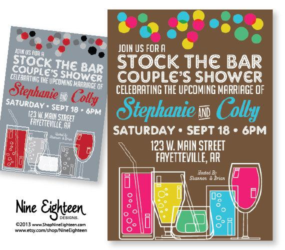 Mariage - Stock The Bar Party, Couple's Shower invitaion. Printable PDF/JPG. I design, you print. Made to Match add ons available.