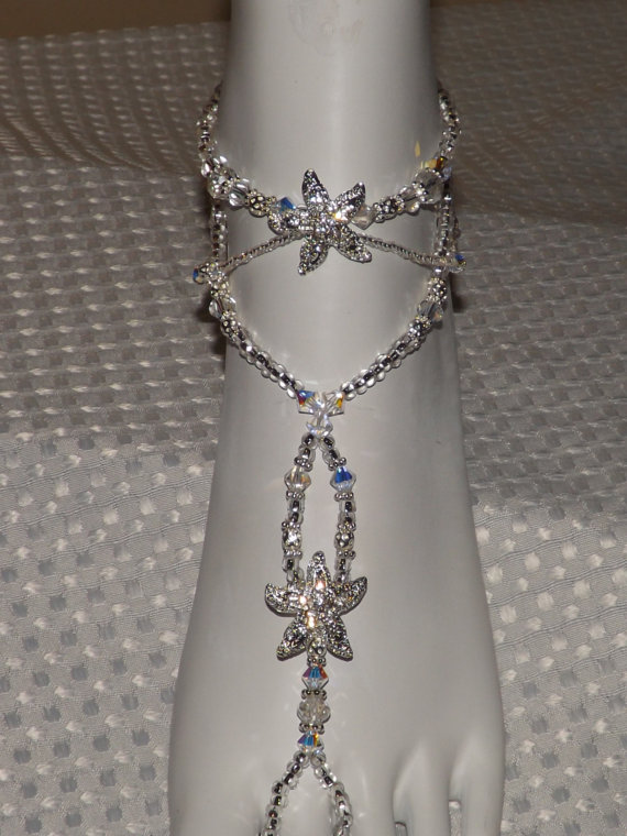 Hochzeit - Dazzling Foot Jewelry Wedding Barefoot Sandal  Anklet Bridal Shower Gift Wedding Foot Jewelry Ankle Bracelet