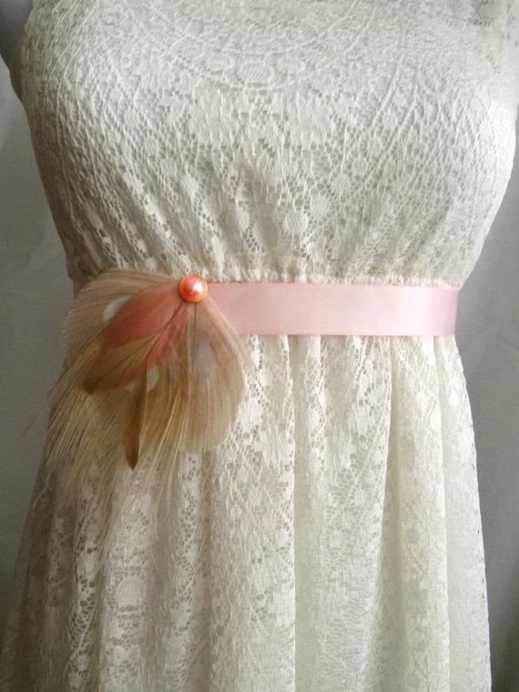 Mariage - DAPHNE Ivory and Blush Pink Peacock Feather Flower Bridal Wedding Sash, Maternity Sash