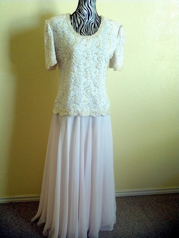 Evening Sequin Dress1980 Fabulous Beaded Bodice Pastel Pink Over