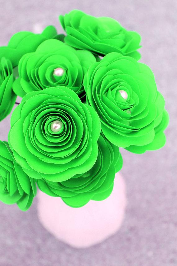 12 Lime Green Paper Flowers - Baby Shower - St. Patrick\'s Day ...