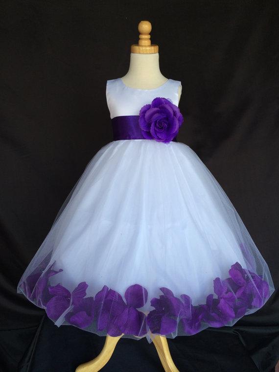 Mariage - White Flower Girl Dress -pageant - Wedding, Easter, Junior Bridesmaid, Formal Girl Dress, Recital 6 12 18 24 months 2468101214