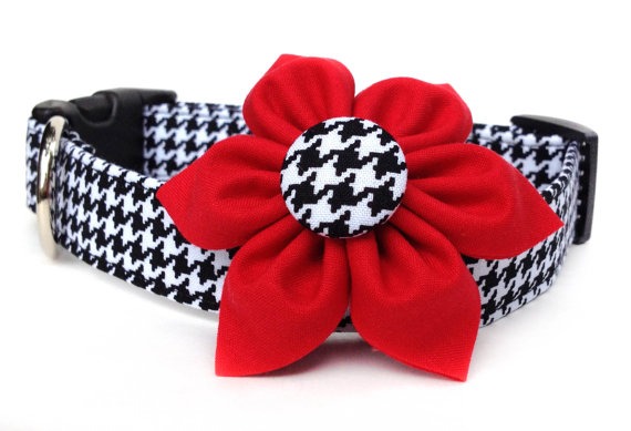 Свадьба - Houndstooth Dog Collar & Flower / Black and White Houndstooth Dog Collar with Flower
