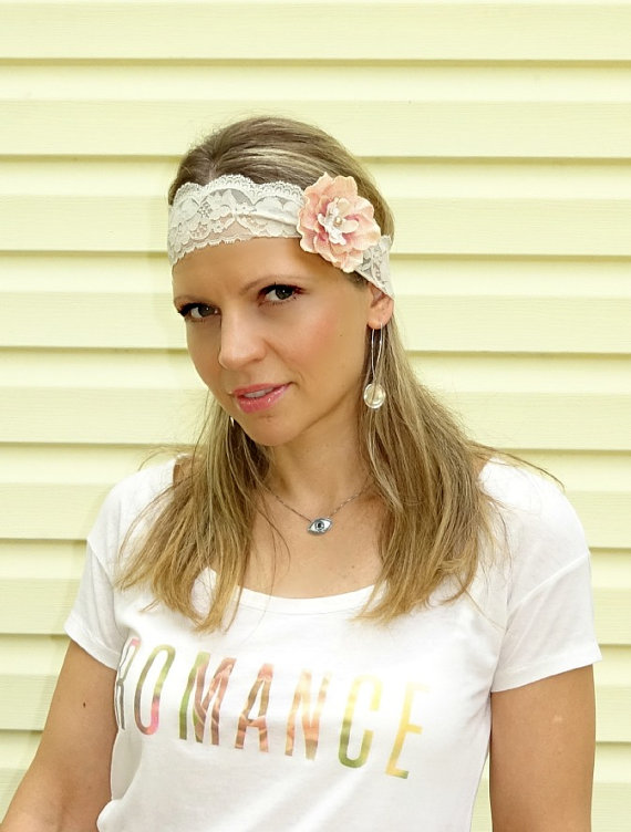 Свадьба - Vintage flower Stretchy lace headband, wedding hairband by CristaBela's Boutique