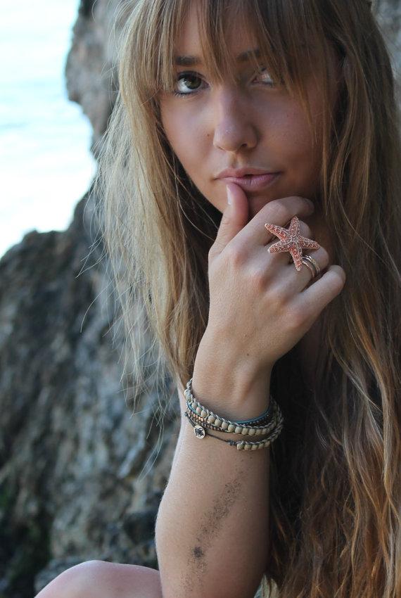 Свадьба - Baja Starfish Ring,  Adjustable Mermaid ring, starfish jewelry, beach weddings