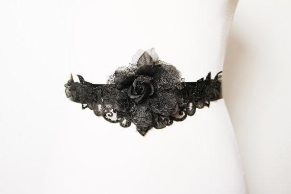 Düğün - Bridal Couture - Black Lace Beads Beaded Flower Sash Belt - Wedding Dress Sashes Belts