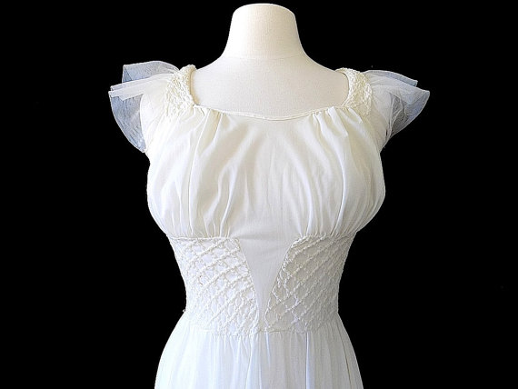 Свадьба - 1950s Rogers Run Proof White Nylon Night Gown