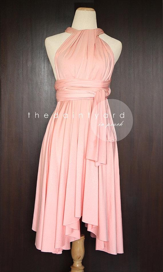 Wedding - Peach Bridesmaid Convertible Dress Infinity Dress Multiway Dress Wrap Dress Wedding Dress