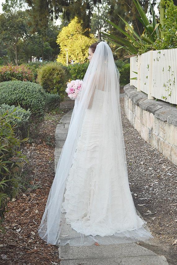 "Mariage - Wedding veil, bridal veil, one tier wedding veil, cut edge, soft bridal tulle, chapel length, 108"" wide extra fullness"