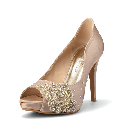 زفاف - Champagne Wedding Heels,  Diamante Wedding Shoes, Swarovski Wedding Heels, Champagne Diamonds Bridal Heels, High Heel Shoes