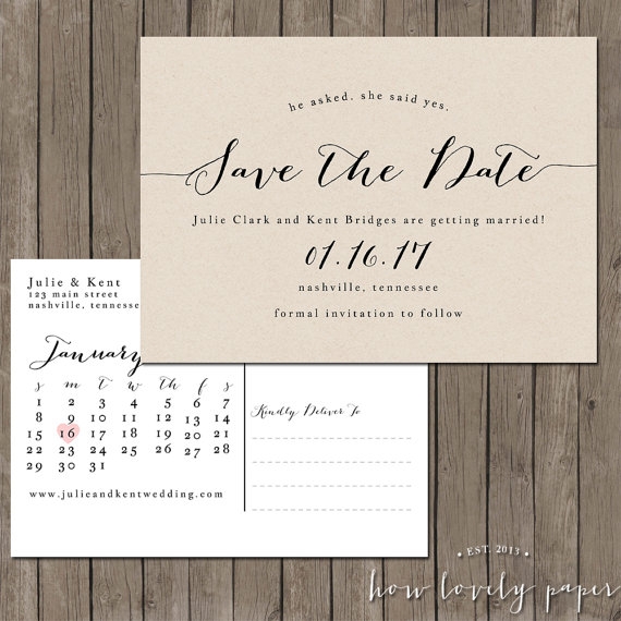 Mariage - Printable Save the Date Postcard - the Bailey Collection