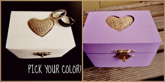 Свадьба - Wood Ring Bearer Box - ring bearer box - rustic ring bearer box - wooden ring bearer box - burlap ring bearer pillow - white ring bearer box
