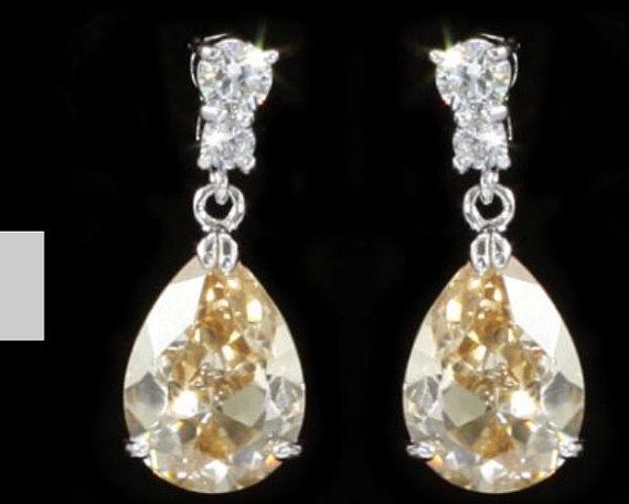 Свадьба - Pear Cut Cubic zirconica Earrings, Yellow Gold Swarovski Earrings, Bridesmaid Earings, Bridal Earings, Partt Earings, Crytal Earings