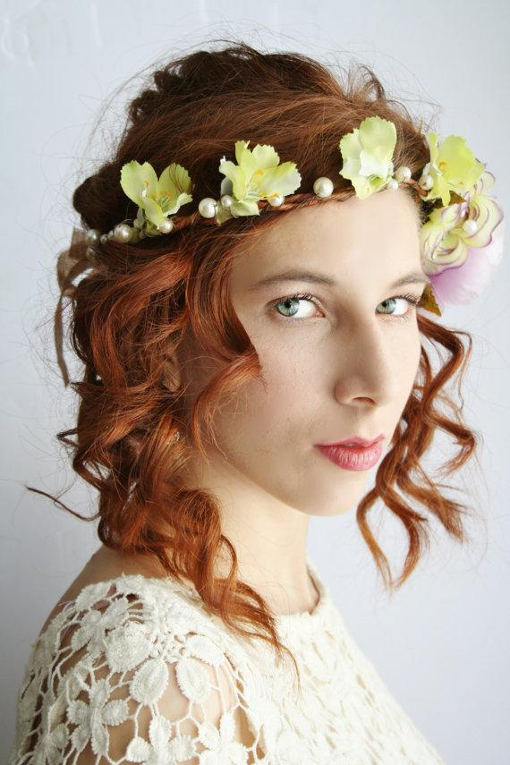 Свадьба - Flower crown Festival floral crown Rustic bridal circlet boho hippie flower halo Woodland wedding flower crown elven flower headband LAMIA