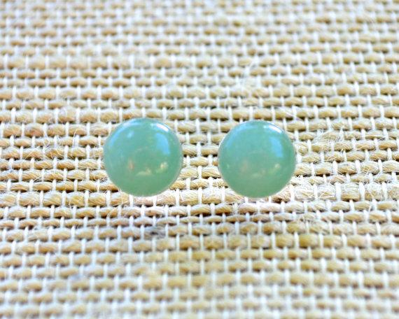 Свадьба - Green Aventurine Gemstones . Studs . Small . Earrings