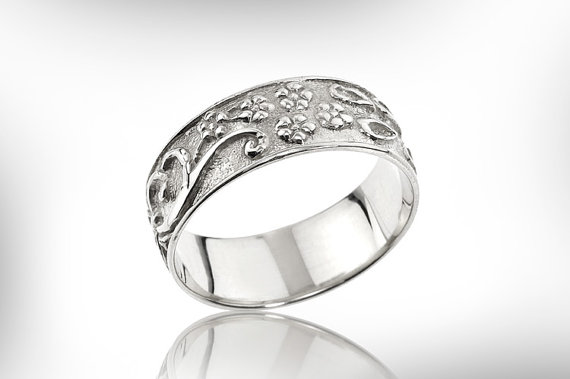 sterling silver band wedding ring weddings band hand engraved petals design fine jewelry gift for her vintage unisex weddiings - Silver Wedding Rings For Her