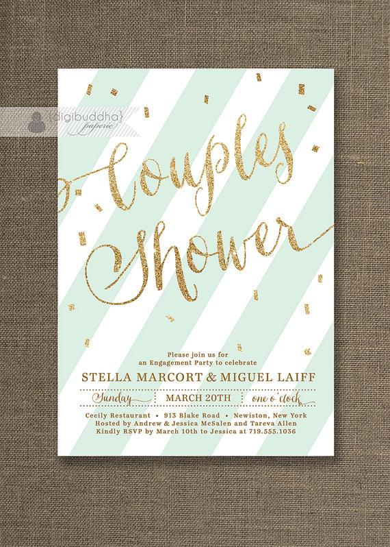Mariage - Mint Green & Gold Couples Shower Invitation Glitter Pastel Wedding Bridal Party Modern FREE PRIORITY SHIPPING or DiY Printable - Stella