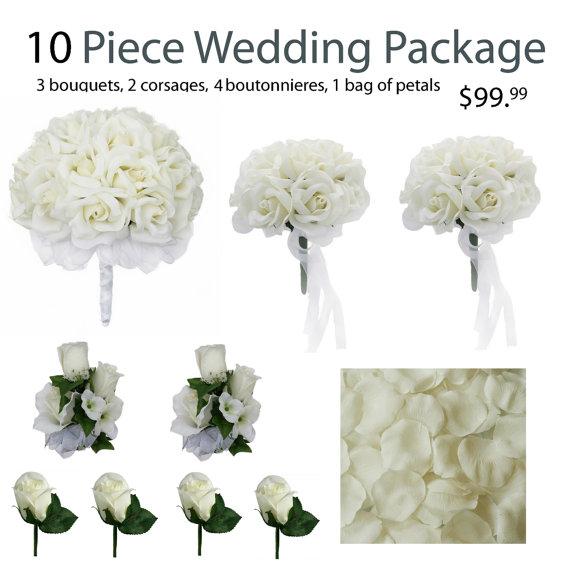 Свадьба - 10 Piece Wedding Package - Silk Wedding Flowers - Bridal Bouquets - Ivory Wedding Bouquets