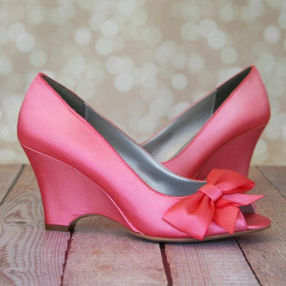 wedge wedding shoes pink coral peep toe wedge wedding