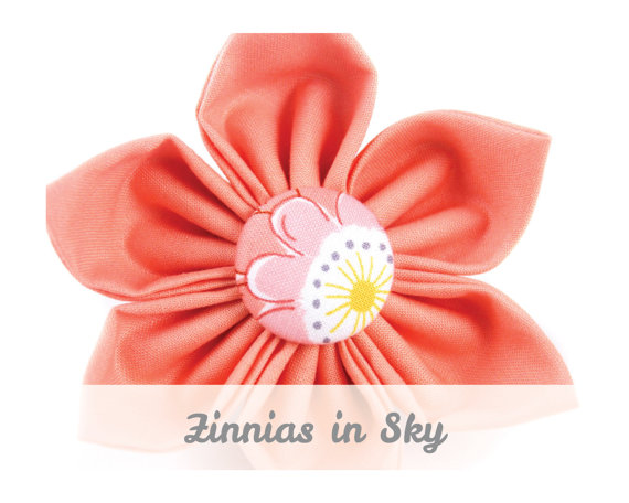 Hochzeit - Coral Floral Dog Collar Flower - Zinnias in Sky