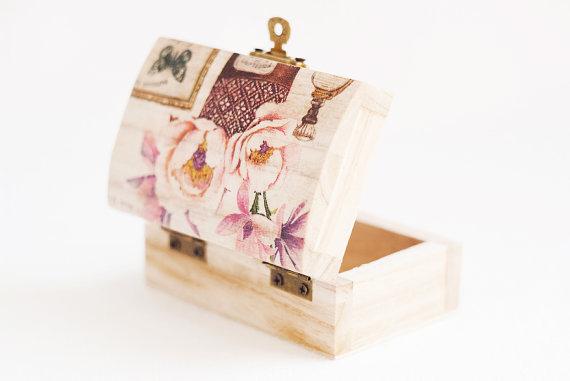 Wedding Ring Bearer Box Magnolia Pink Blue Erfly Vintage Style Rustic Jewelry Handmade Gift Ideas