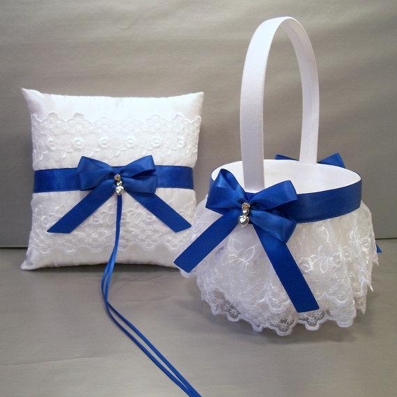 royal blue wedding bridal flower girl basket and ring bearer pillow set on ivory or white. Black Bedroom Furniture Sets. Home Design Ideas