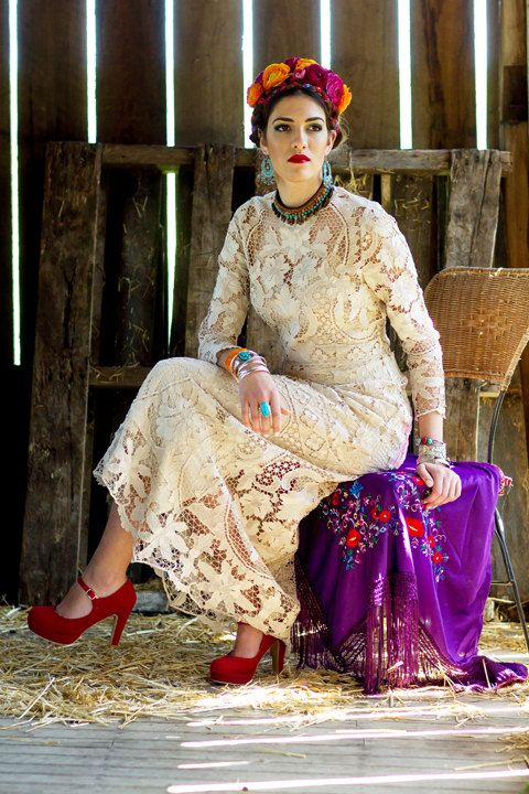 زفاف - Vintage Cotton Venetian Antique Lace Wedding Dress S M L XL
